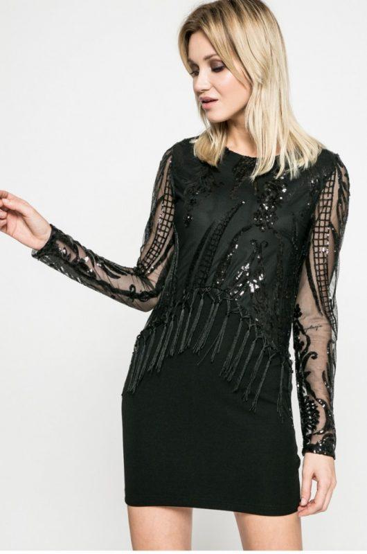 Czarna sukienka z cekinami długi rękaw
