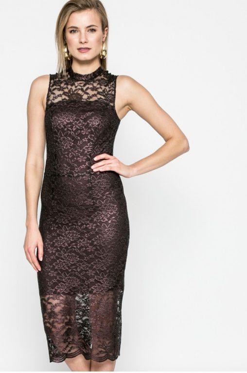 Koronkowa sukienka midi bordowa