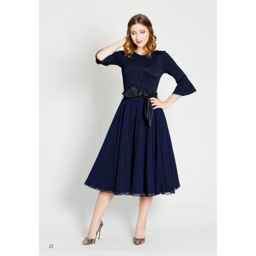 Koktajlowa sukienka za kolano granatowa