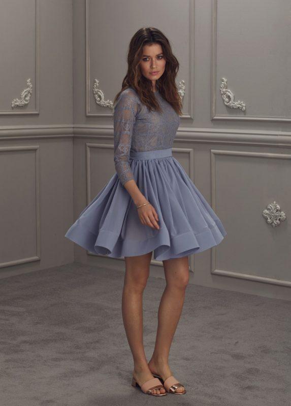 Jasno szara sukienka z koronkową górą