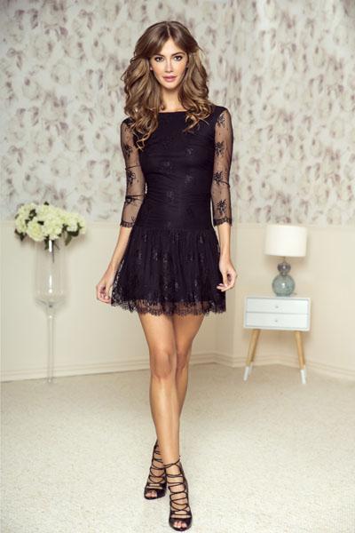 Czarna mini sukienka z koronki