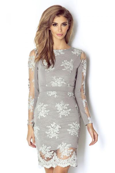 Szara sukienka koronkowa z przezroczystymi rękawami