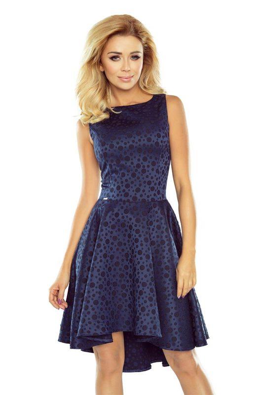 Piękna sukienka z dłuższym tyłem granatowa
