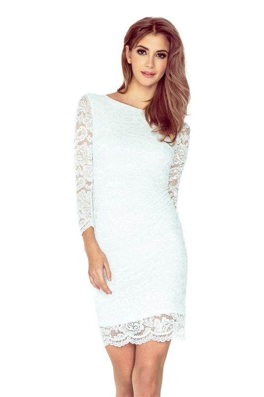 Elegancka sukienka z koronki ecru