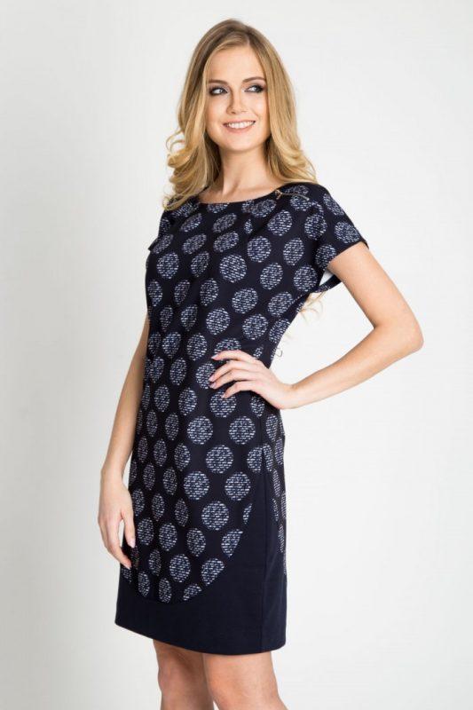 Elegancka granatowa sukienka ołówkowa w koła
