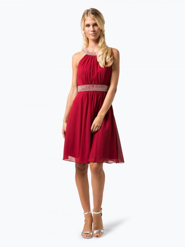 Wieczorowa sukienka z perełkami w talii czerwona