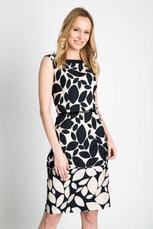 Elegancka sukienka z nadrukiem - do pracy i na wesele