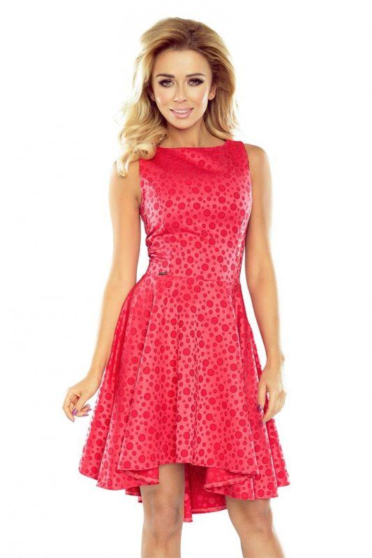 Piękna sukienka z dłuższym tyłem malinowa