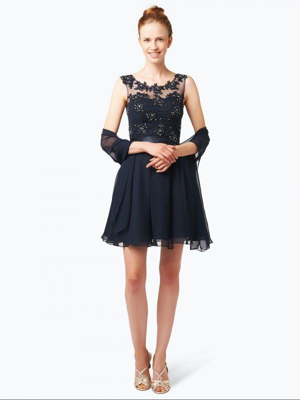 Niente Elegancka sukienka damska z etolą czarna