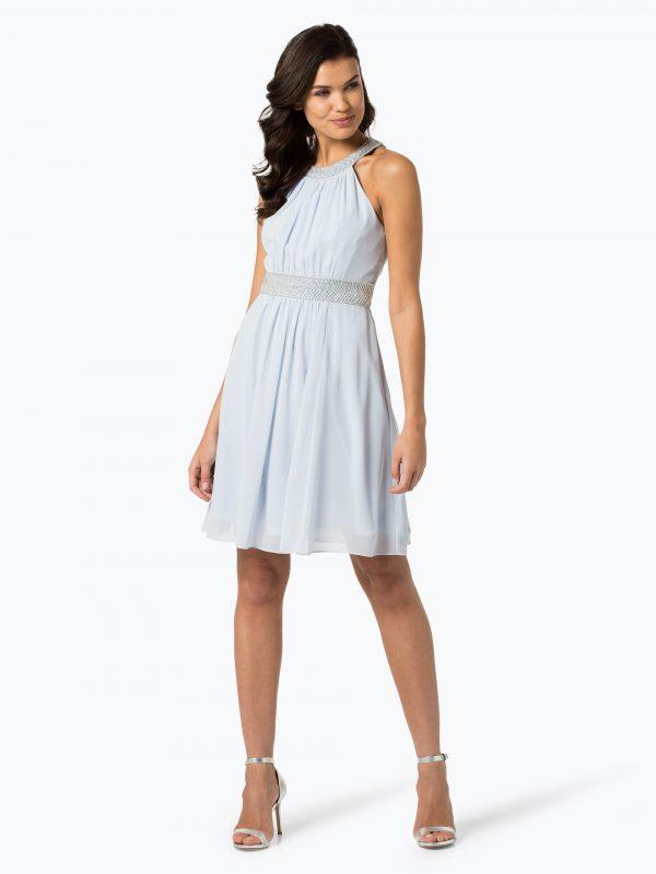 Wieczorowa sukienka z perełkami w talii błękitna