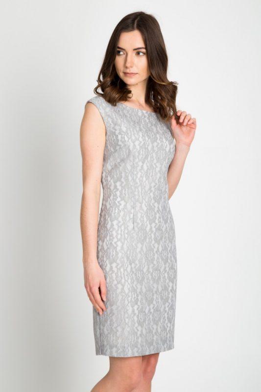 Elegancka szara sukienka do pracy i na wesele