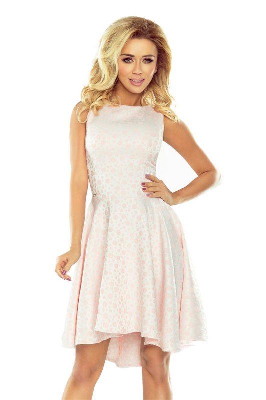 Piękna sukienka z dłuższym tyłem jasno różowa