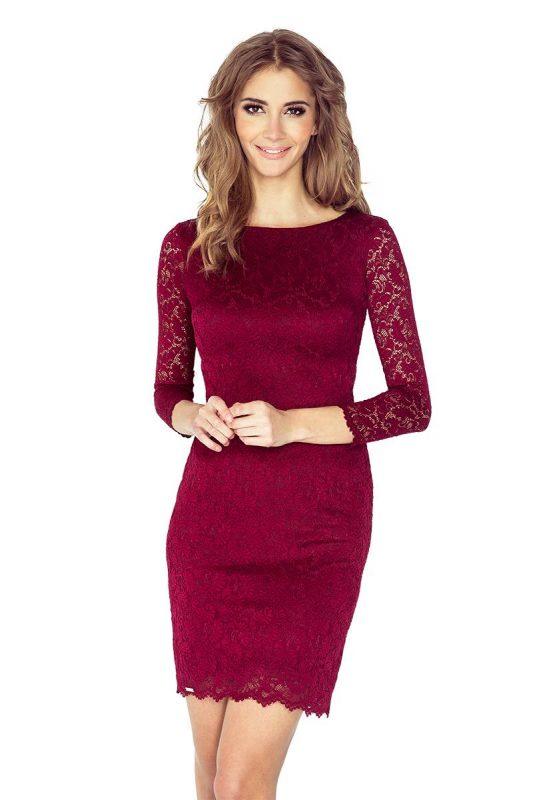 Elegancka sukienka z koronki bordowa