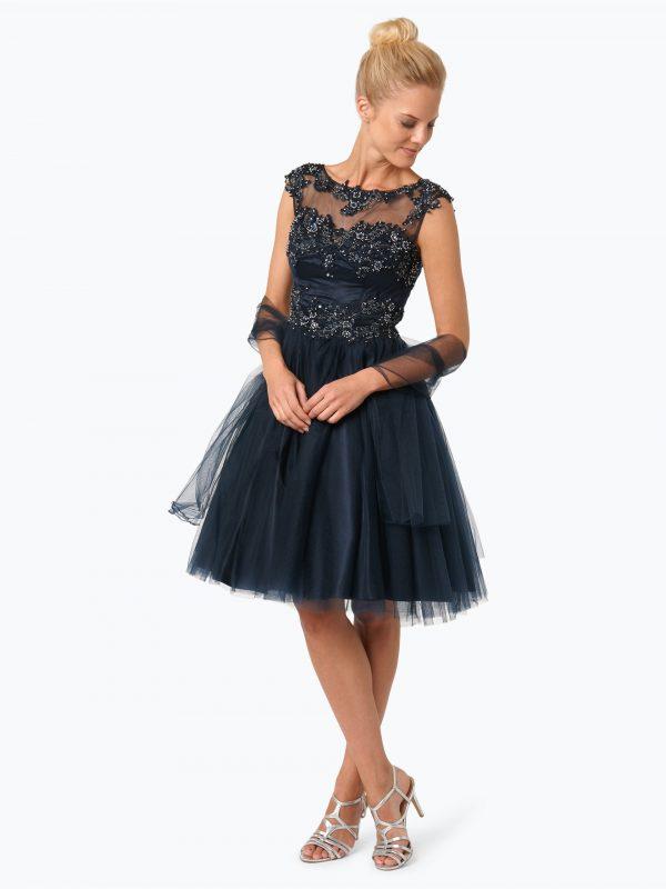 Niente Elegancka sukienka damska z etolą granatowa