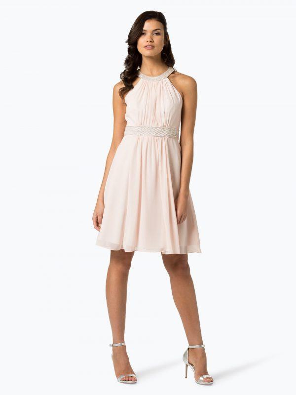 Wieczorowa sukienka z perełkami w talii różowa