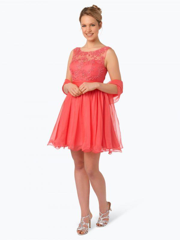 Luxuar Fashion Elegancka sukienka damska z etolą koralowa