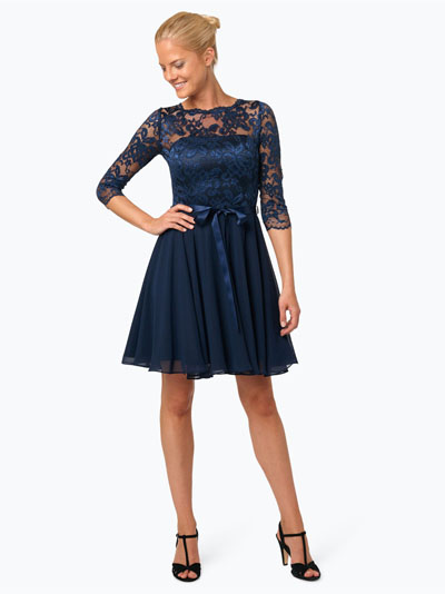 Swing Elegancka sukienka koronkowa granatowa
