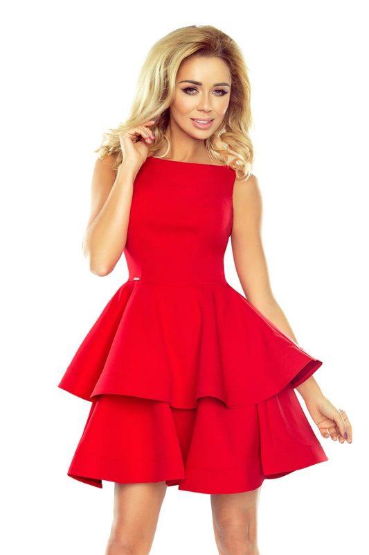 Rozkloszowana sukienka z falbankami czerwona