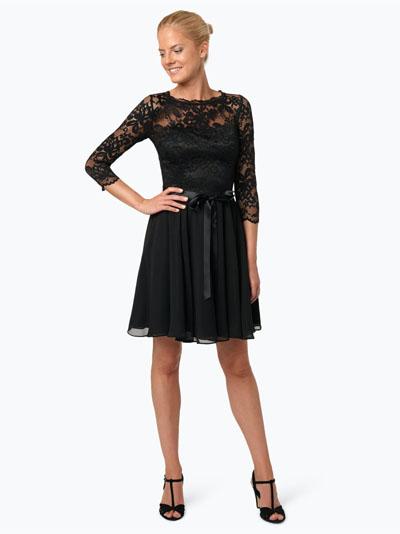 Swing Elegancka sukienka koronkowa czarna