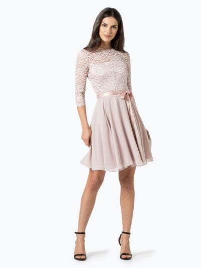 Swing Elegancka sukienka koronkowa cielista