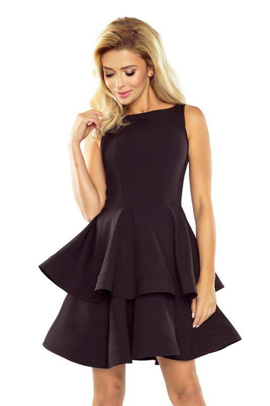 Rozkloszowana sukienka z falbankami czarna