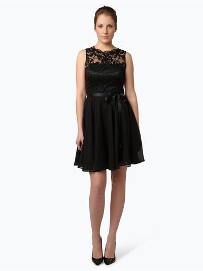 Swing damska czarna sukienka wieczorowa