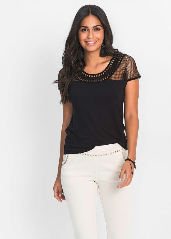 Czarna bluzka damska z siateczką