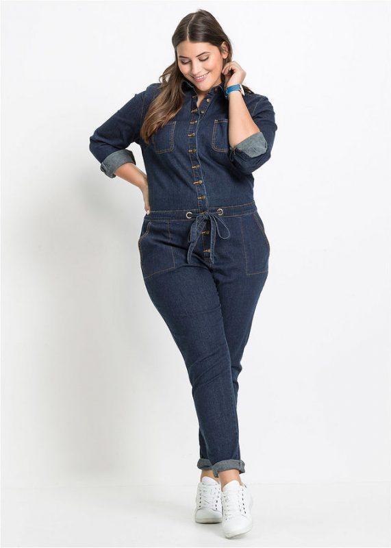 Jeansowy kombinezon damski plus size