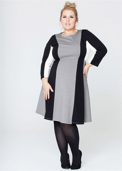 Dzianinowa sukienka plus size na jesien i zime