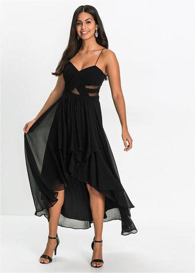 Czarna sukienka koktajlowa z dłuższym tyłem