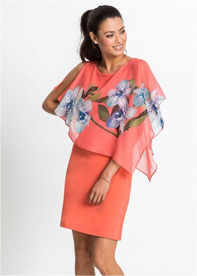 Piękna sukienka z szyfonową narzutką koralowa