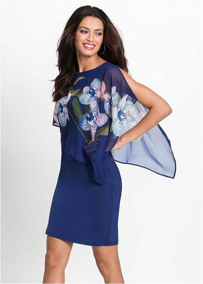 Elegancka sukienka z szyfonową narzutką niebieska