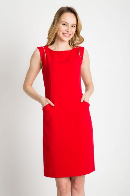 Elegancka sukienka z kieszeniami czerwona