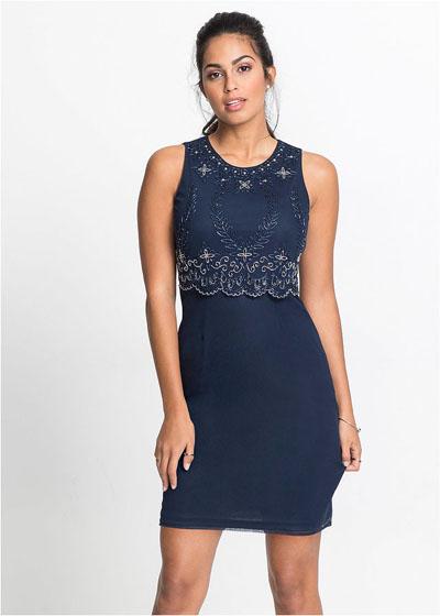 Elegancka granatowa sukienka z koronką
