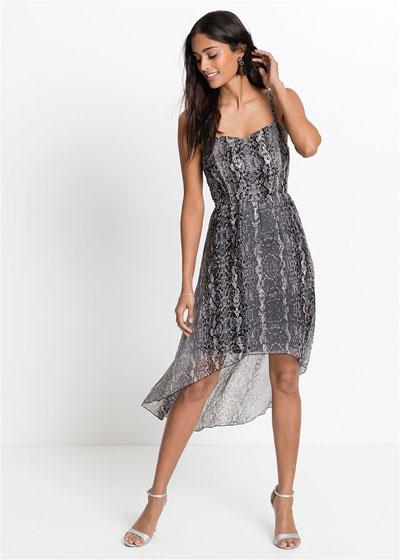 Zwiewna srebrna sukienka z dłuższym tyłem