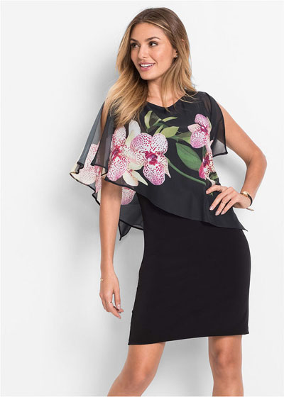 Czarna sukienka z szyfonową narzutką w kwiaty