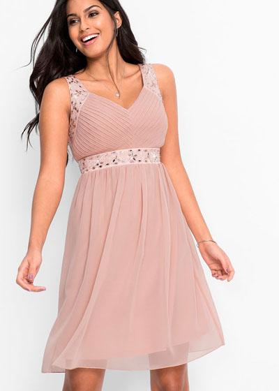 Zwiewna sukienka koktajlowa różowa