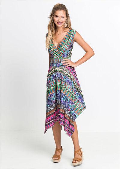 Letnia sukienka z dłuższymi bokami kolorowa
