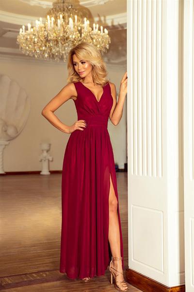 Długa szyfonowa sukienka z rozcięciem bordowa