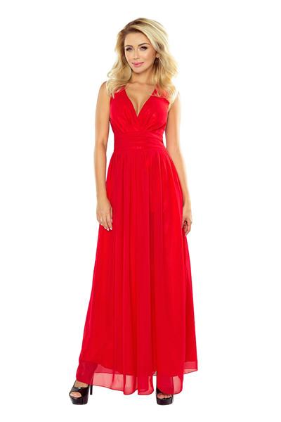 Długa szyfonowa sukienka z rozcięciem czerwona
