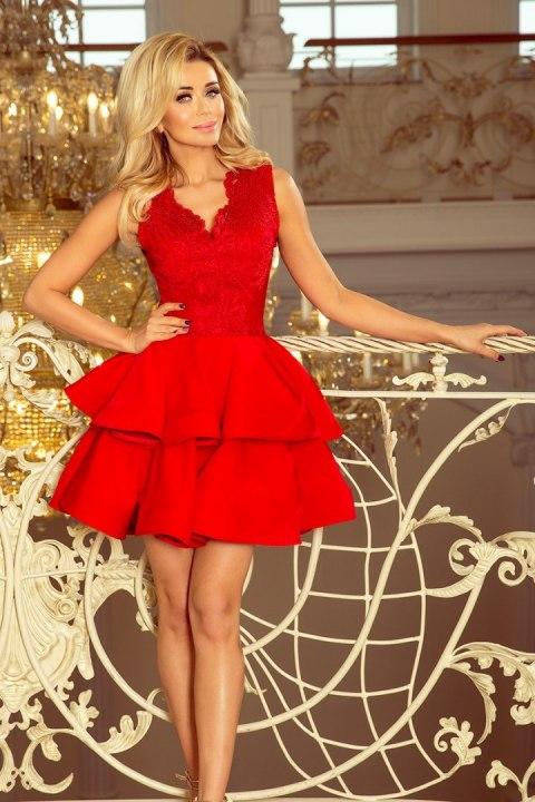 Ekskluzywna sukienka z koronkowym dekoltem czerwona