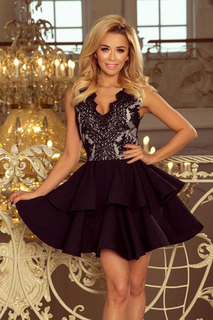 Ekskluzywna sukienka z koronkowym dekoltem czarna