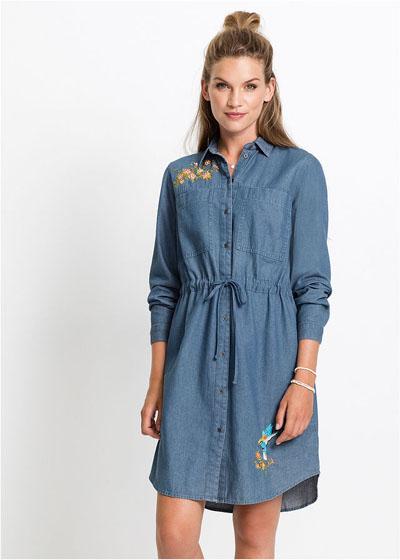 Sukienka jeansowa z haftem, długi rękaw