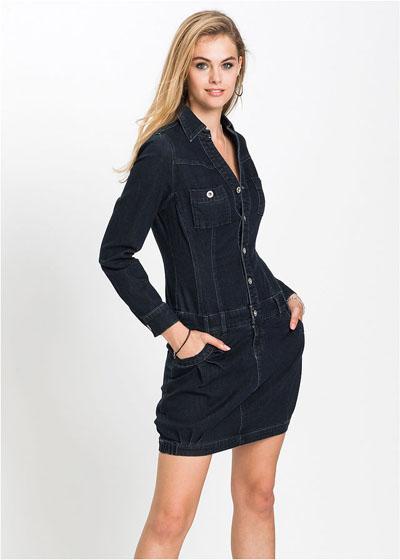 Sukienka jeansowa z długim rękawem ciemny dzins