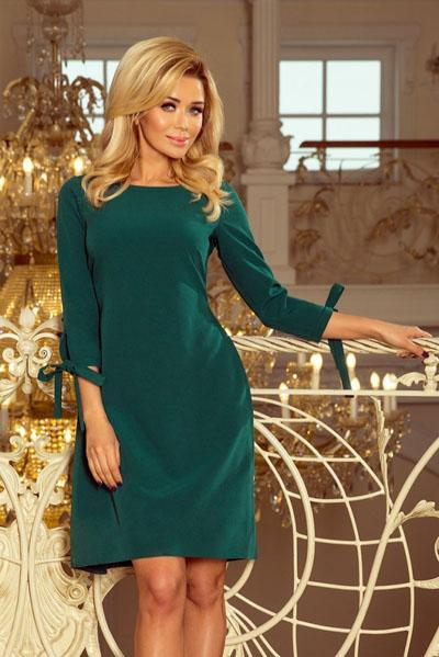 Rozkloszowana sukienka z kokardkami zielona