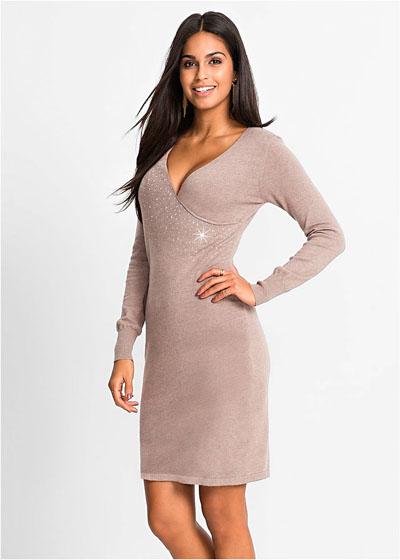 Dzianinowa sukienka z aplikacją ze sztrasów brązowa