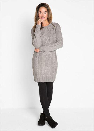 Dzianinowa sukienka sweterkowa szara
