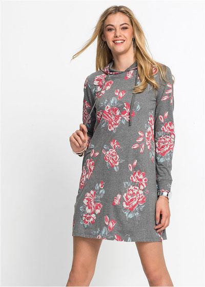 Sukienka dresowa z kapturem, w kwiaty