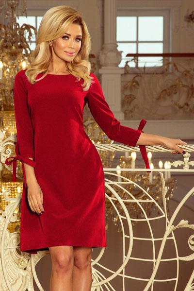 Rozkloszowana sukienka z kokardkami czerwona