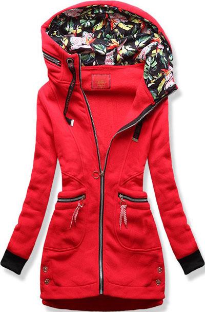 Długa bluza z kapturem w kwiaty czerwona